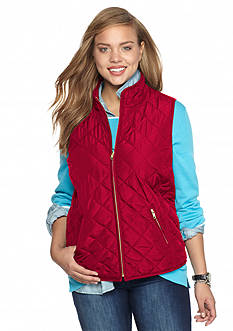 crown & ivy™ Plus Size Solid Puffer Vest