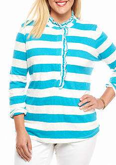 crown & ivy™ Plus Size Ruffle Henley Top