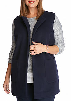 crown & ivy™ Plus Size Solid Sleeveless Vest Coat