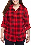 crown & ivy™ Plus Size Plaid Top