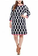 crown & ivy™ Plus Size Contrast Ponte Dress