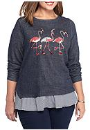 crown & ivy™ Flamingo Crew Neck Knit