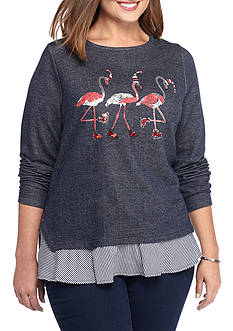 crown & ivy™ Flamingo Crew Neck Knit Sweatshirt
