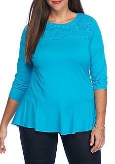 crown & ivy™ Plus Size Crochet Knit Peplum Top