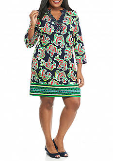 crown & ivy™ Plus Size Printed Crochet Ponte Dress