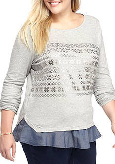 crown & ivy™ Fair Isle 2Fer Top