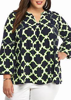 crown & ivy™ Plus Size Crochet Trim Swing Tunic