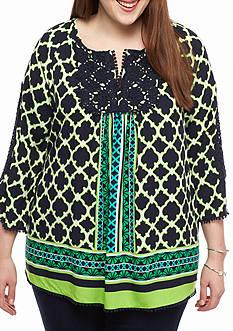 Crown & Ivy™ Plus Size Crochet/Pom Trim Peasant Top