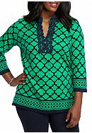 crown & ivy™ Plus Size Lattice Knit Kurta