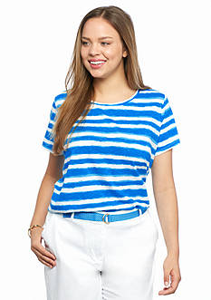 crown & ivy™ Plus Size Stripe Slub Tee