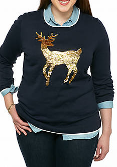 crown & ivy™ Plus Size Reindeer Intarsia Sweater
