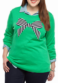 crown & ivy™ Plus Size Stripe Bows Intarsia Sweatshirt