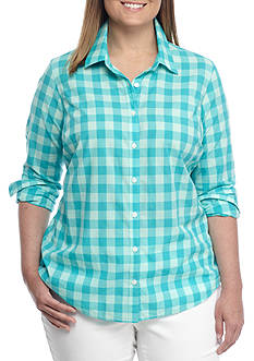 Crown & Ivy™ Plus Size Festive Gingham Shirt