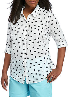 Crown & Ivy™ Plus Size Scatter Dot Woven Shirt