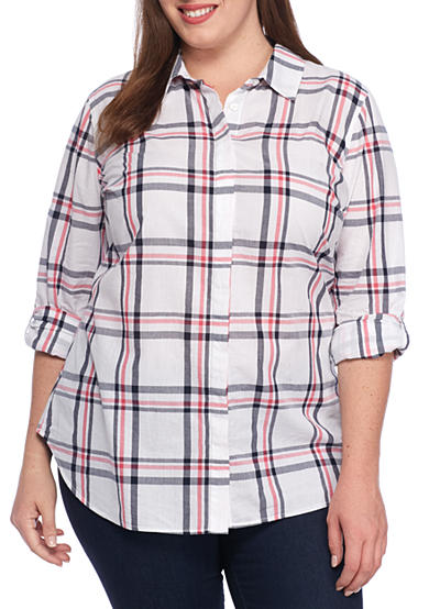 Crown & Ivy™ Plus Size Pretty Plaid Tunic