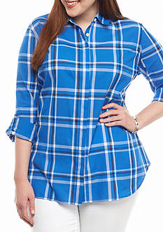 crown & ivy™ Plus Size Pretty Plaid Tunic