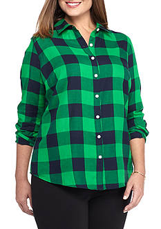 crown & ivy™ Plus Size Gingham Prep Shirt