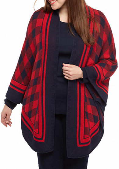 crown & ivy™ Plus Size Buffalo Sweater Cape