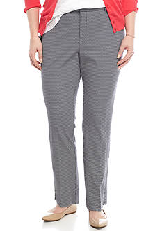 Crown & Ivy™ Plus Size Geo Print Flat Front Pant