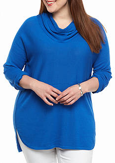 crown & ivy™ Plus Size Solid Cowl Neck Sweater