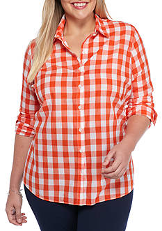 crown & ivy™ Plus Size Gingham Button Down Shirt