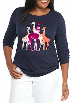 crown & ivy™ Plus Size Giraffe Printed Tee