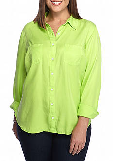 crown & ivy™ beach Plus Size Colored Tencel® Tunic
