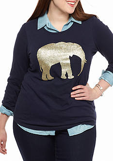 crown & ivy™ Plus Size Gold Ellie Tee