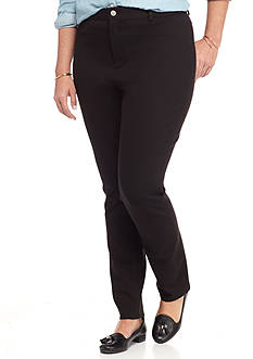crown & ivy™ Women's Petite Front Fly Zip Up Ponte Pant