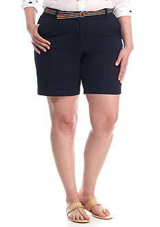 Crown & Ivy™ Plus Size Belted Twill Short
