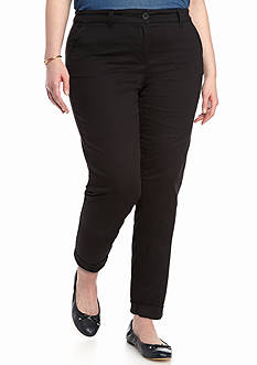 Crown & Ivy™ Plus Size Solid Casual Crop Pant