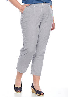 Crown & Ivy™ Plus Size Seersucker Stripe Casual Cropped Pants
