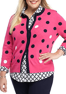 crown & ivy™ Plus Size Button Front Cardigan