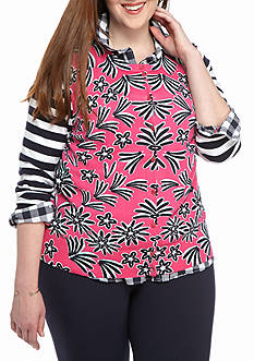 crown & ivy™ Plus Size Pedal Strip Print Cardigan