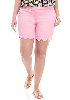 Crown & Ivy™ Plus Size Scallop Hem Shorts