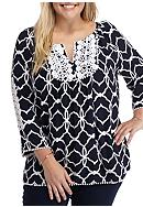 Crown & Ivy™ Plus Size Printed Lace Top