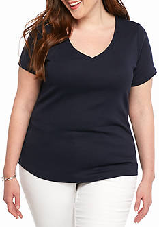crown & ivy™ Plus Size Pima Rib Sold V-Neck Tee