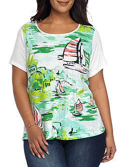 Crown & Ivy™ Plus Size Scenic Graphic Tee