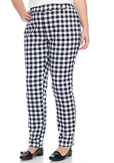 Crown & Ivy™ Plus Size Gingham Blue Weave Pant