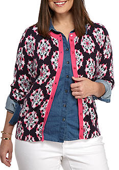 crown & ivy™ Plus Size Printed Contrast Cardigan