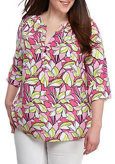 Crown & Ivy™ Plus Size Print Woven Split Neck Top