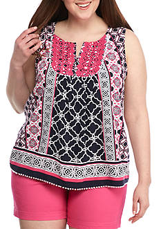 Crown & Ivy™ Plus Size Sleeveless Peasant Top