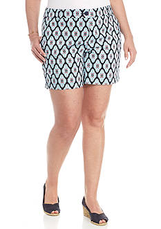 Crown & Ivy™ Plus Size 5 inch Medallion Shorts