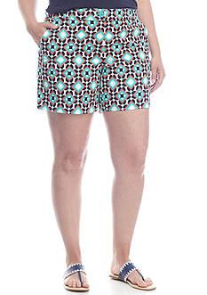 Crown & Ivy™ Plus Size Flat Front Tile Print Shorts