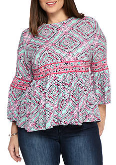 Crown & Ivy™ Plus Size Embroidered Peplum Top