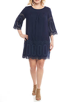 Crown & Ivy™ Plus Size Babydoll Eyelet Dress