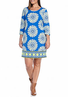 Crown & Ivy™ Plus Size Three-Quarter Sleeve Knit Dress