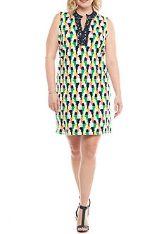 Crown & Ivy™ Plus Size Printed Gingham Dress