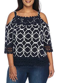 Crown & Ivy™ Plus Size Cold-Shoulder Printed Peasant Top
