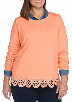 crown & ivy™ Plus Size Solid Embroidered Hem Sweatshirt